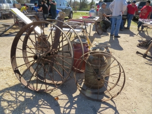 old wagon wheels and milk cans