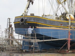 in dry dock getting painted