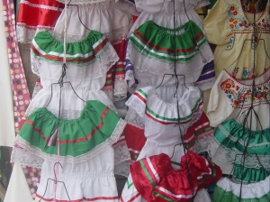 dresses for sale in the Mexican flag colors