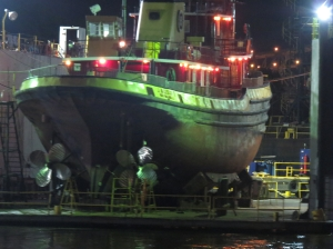 Dry dock at night