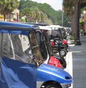 A gaggle of golf carts