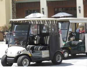 golf carts black & white