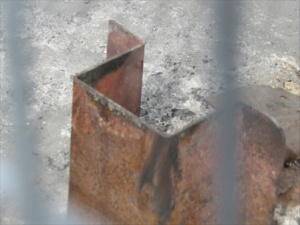 Whats left of a beam support.