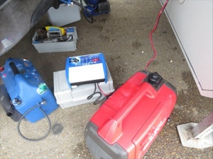 generator and battery charger at work
