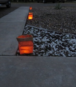 Lighting the path to our door.