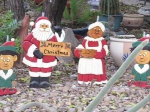 Santa family in a cactus garden