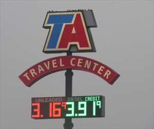 TA travel center- price of diesel is even worse.