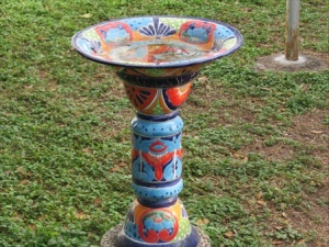 Pretty birdbath, but I don't think it matters to the birds as long as there is water.