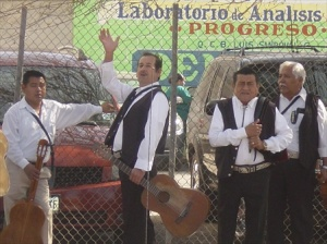 Mariachi band taking a break.