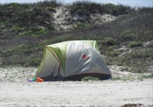 Tenting on the beach.