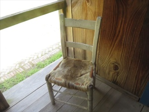 Chair seat is deer hide.