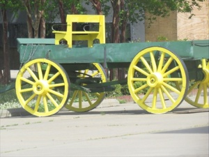 Wagon waiting to be hitched to a team of horses.