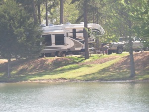 Our rig camped by the lake.