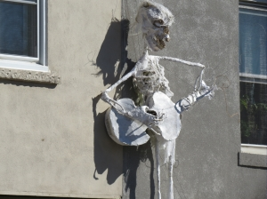 Eerie sculptures decorate the buildings in anticipation of Halloween.