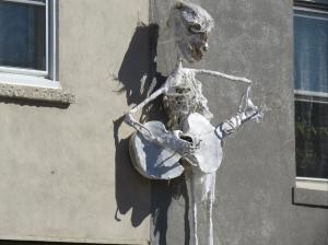 Eerie sculptures decorate the buildings in anticipation of Halloween.